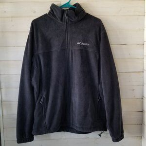 COLUMBIA dark gray zip up fleece sweater